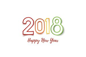 Happy New Year 2018. Colorful paper design pn white.