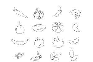Doodle fruits and vegetables icons