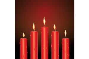 Realistic Red Glowing Candles