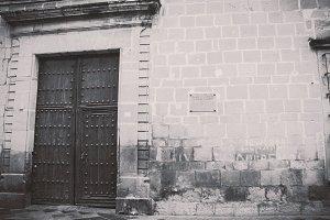 Wooden Door in Old City - BW