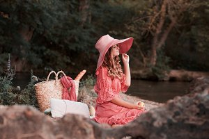 Girl having picnic
