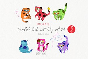 Scottish fold cat watercolor graphic