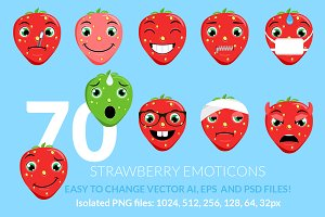 Strawberry Emoticons / Emoji