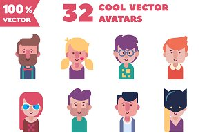 Vector set of 32 cool flat avatars