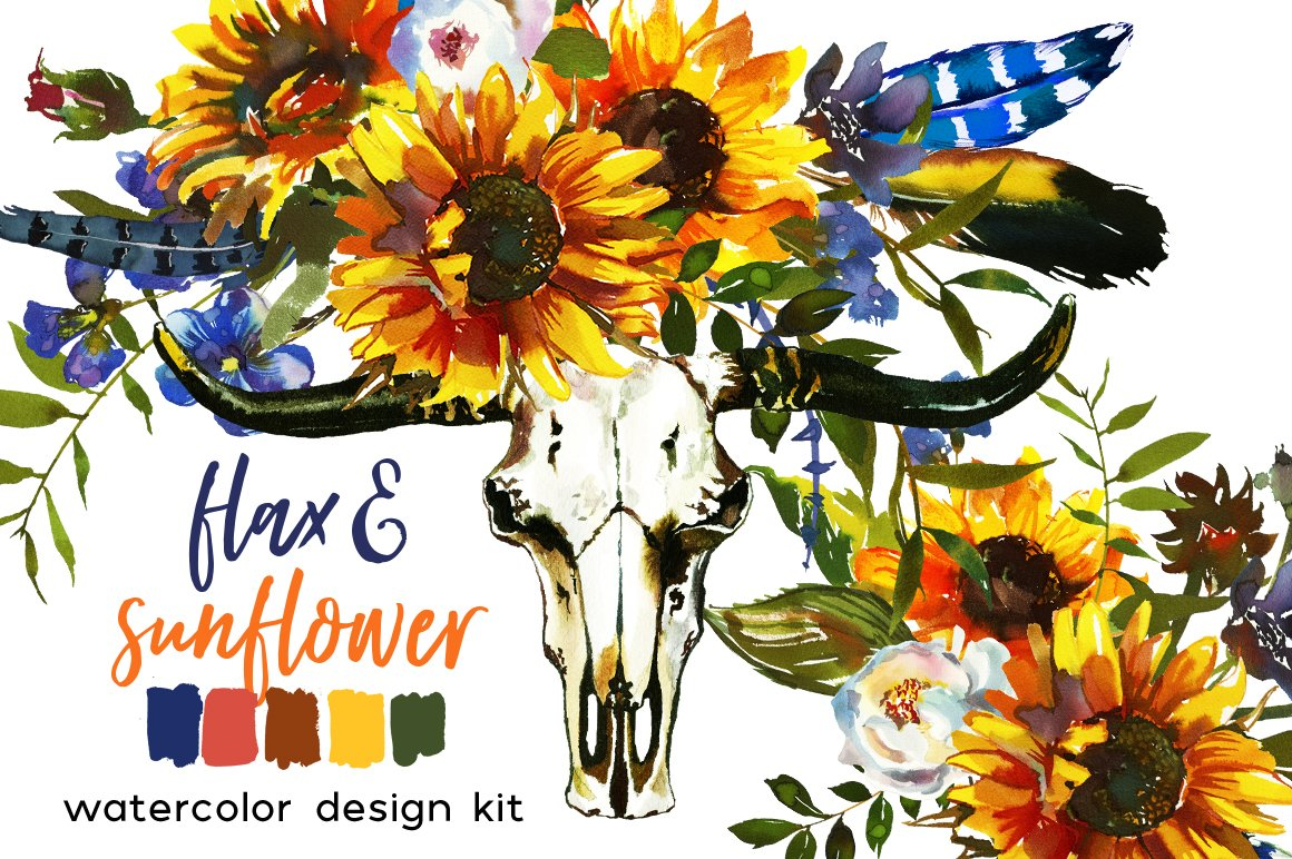 Boho Sunflower Flax Flowers PNG ~ Illustrations ~ Creative Market