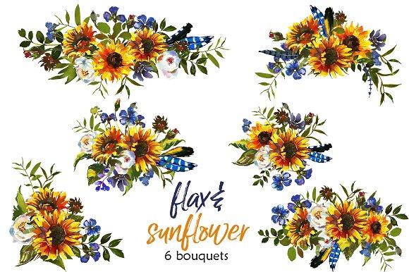 Boho Sunflower Flax Flowers PNG Illustrations Creative Market