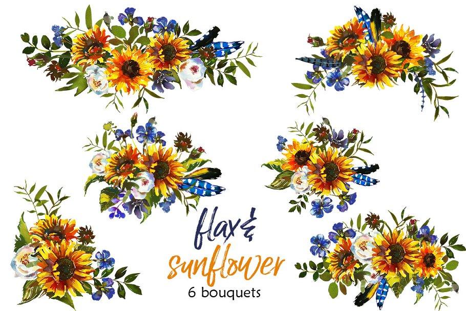 Boho Sunflower Flax Flowers PNG - Illustrations | Creative Market Pro
