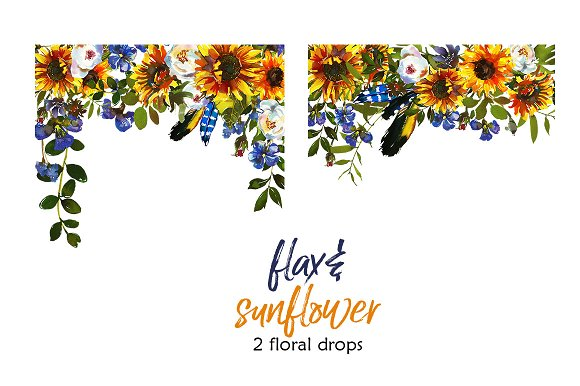 Boho Sunflower Flax Flowers PNG Illustrations Creative Market