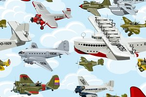 Cartoon retro ailrplanes 1930s