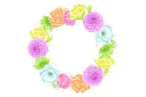 Decorative frame with delicate flowers. Object for decoration wedding invitations, romantic cards