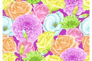 Seamless pattern with decorative delicate flowers. Easy to use for backdrop, textile, wrapping paper, wallpaper