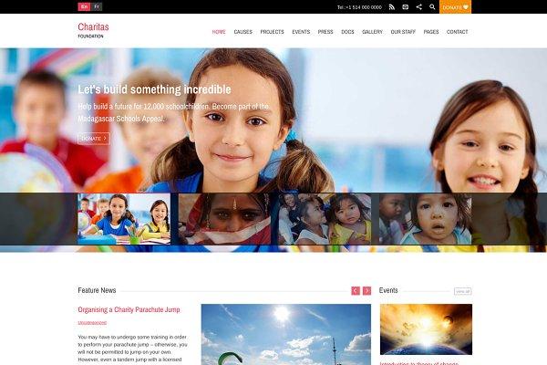 WordPress Non-Profit Themes: WPlook WordPress Themes - Charitas/Foundation WordPress Theme