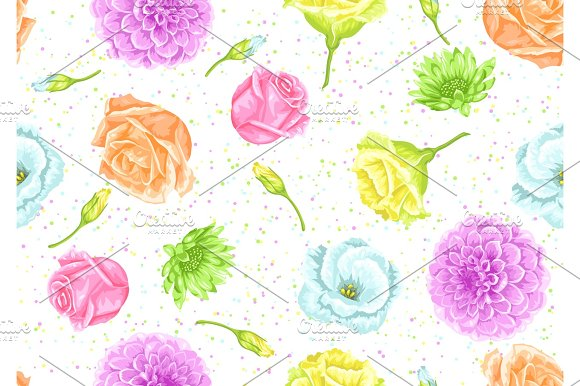 Seamless Pattern With Decorative Delicate Flowers Easy To Use For Backdrop Textile Wrapping Paper Wallpaper