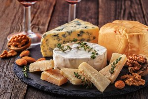 Cheese, nuts, honey and red wine