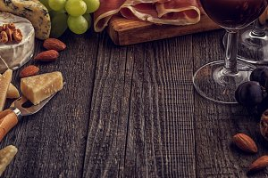 ham, nuts, grapes and red wine