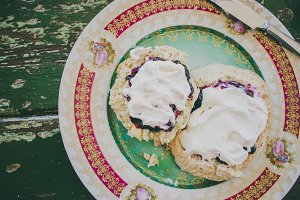 Scone with Blueberry Jam and Cream