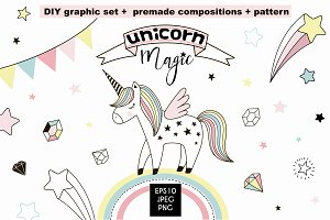 Unicorn Magic cliparts & patterns