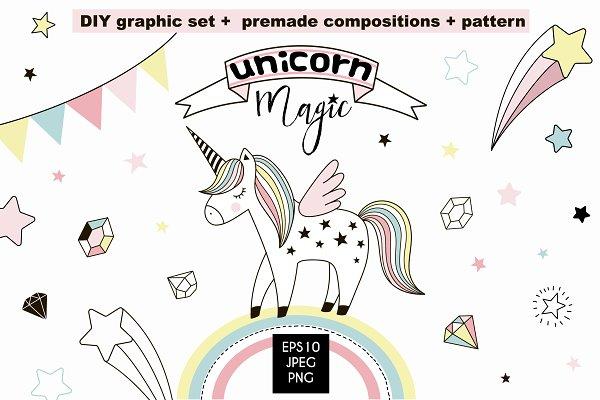 Unicorn Magic cliparts & patterns
