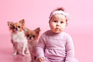 Baby girl with dogs