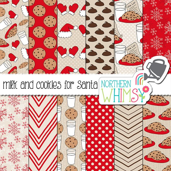Christmas Patterns Milk And Cookies