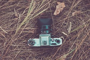 Retro film camera outdoors