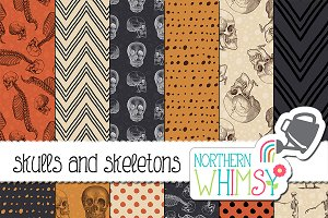 Halloween Patterns - Vintage Skulls