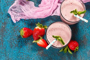 Strawberry smoothie in glasses
