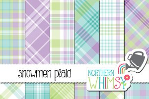 Winter Plaid - blue green & purple