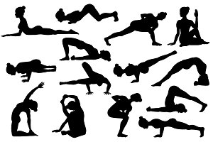 25 Yoga poses. Silhouettes. Part 2
