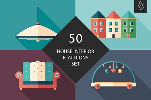 50 House interior flat icons set
