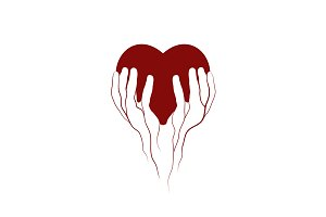 Heart in veins hands symbol logo