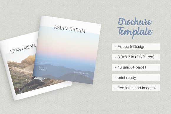 Square Clean Brochure Template Brochure Templates Creative Market - Adobe indesign brochure templates