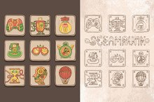 Doodle steampunk icons