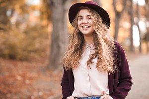 Smiling girl in park