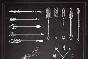 Hand Drawn Arrows on Chalkboard