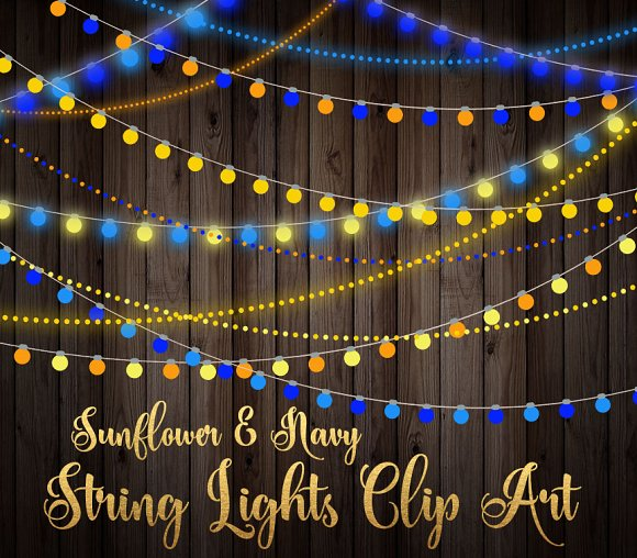 Sunflower And Navy String Lights