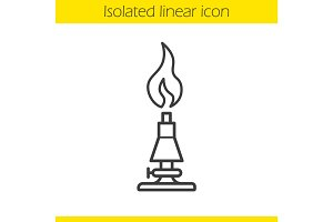 Chemical lab burner linear icon