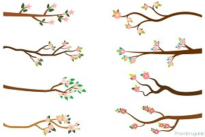 Branches with pink flowers clipart