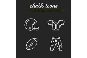 American football equipment chalk icons set