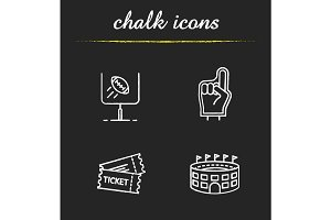 American football chalk icons set