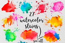27 watercolor stains