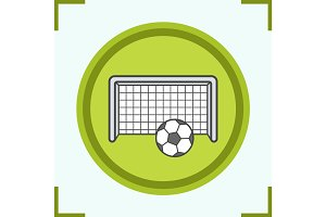 Soccer goal color icon