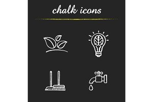 Environment protection chalk icons set