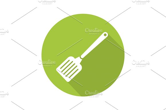 Spatula Flat Design Long Shadow Icon