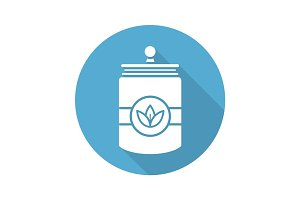 Tea and herbs jar. Flat design long shadow icon
