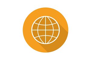 Globe flat linear long shadow icon