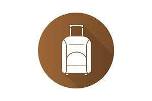 Luggage suitcase on wheels. Flat design long shadow icon