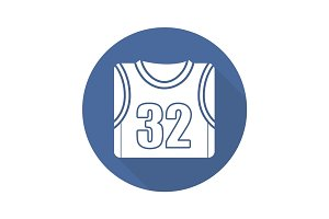 Basketball player's shirt. Flat design long shadow icon