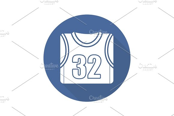 Basketball Player's Shirt Flat Design Long Shadow Icon