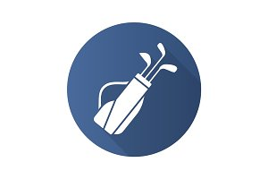 Golf bag with clubs. Flat design long shadow icon